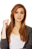 Beautiful teenage woman with shock expression Royalty Free Stock Photos