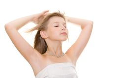 Beautiful teenager girl. Wind in the head Stock Images