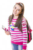 Beautiful teenager girl with backpack and digital tablet Stock Images