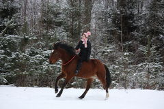 Beautiful teenager girl galloping on brown horse Royalty Free Stock Images