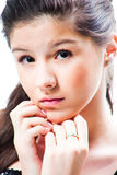 Beautiful  teenager girl on isolated white Royalty Free Stock Photos