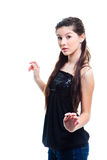 Beautiful  teenager girl on isolated white Stock Images