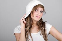 Beautiful Teenager Girl in a White Baseball Cap stock image
