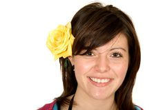 Beautiful teenager girl with a yellow rose Royalty Free Stock Photo