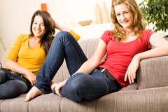 Beautiful teenager girls at home Stock Photos