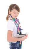 Beautiful teenager holding tablet pc over white Stock Image