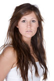 Beautiful Teenager with Long Brown Hair Stock Images