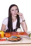 Beautiful Teenager Preparing Food Stock Photos