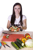 Beautiful Teenager Preparing Food Royalty Free Stock Image