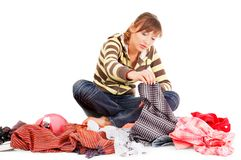 Beautiful teenager selecting clothes Royalty Free Stock Photography