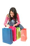 Beautiful teenager with shopping bags Royalty Free Stock Images