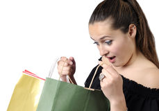 Beautiful teenager with shopping bags Royalty Free Stock Image