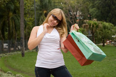 Beautiful teenager with shopping bags Royalty Free Stock Photo