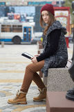 Beautiful teenager in trendy clothes. Royalty Free Stock Images