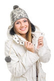 Beautiful teenager wearing winter beanie hat and jacket Stock Photo