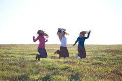 Beautiful teenager  woman jumping Royalty Free Stock Images