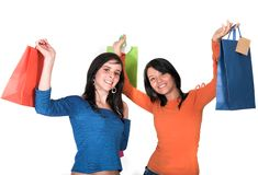 Beautiful teenagers with shopping bags Royalty Free Stock Photo