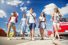 Beautiful teens at summer festival Stock Photography