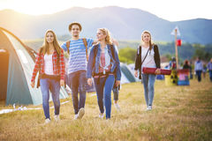 Beautiful teens at summer festival Royalty Free Stock Images