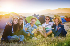 Beautiful teens at summer festival Royalty Free Stock Image