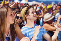 Beautiful teens at summer festival. Group of beautiful teens at concert at summer festival Royalty Free Stock Image