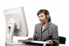 Beautiful telephone operator Royalty Free Stock Images