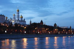 Beautiful temple on the banks of the river at nigh. T in the city of Moscow, Russia Stock Image