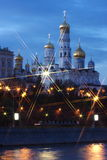 Beautiful temple on the banks of the river at nigh. T in the city of Moscow, Russia Royalty Free Stock Image