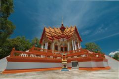 Beautiful temple and blue sky. Sunny day with  beautiful temple in chonburi Royalty Free Stock Images