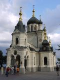 Beautiful temple of Foros church with a lot of tourists. Foros, Crimea, Ukraine. For your design royalty free stock photography