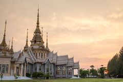 The beautiful temple made from marble and cement in sunset time Stock Images