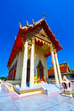 The beautiful temple roof and blue sky, Thailand. Temple buddhism church ancient antiquity beatiful blue cloud exploration famous  place monk outdoor pagoda Stock Photos
