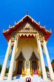 The beautiful temple roof and blue sky, Thailand. Temple buddhism church ancient antiquity beatiful blue cloud exploration famous place monk outdoor pagoda Stock Image