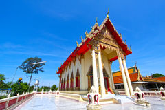 The beautiful temple roof and blue sky, Thailand. Temple buddhism church ancient antiquity beatiful blue cloud exploration famous  place monk outdoor pagoda Stock Photography