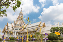 Beautiful temple in Thailand.wat wat sothon wararam worawihan. Build from marble with cloud sky background at Chachoengsao province royalty free stock photo