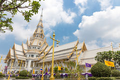 Beautiful temple in Thailand.wat wat sothon wararam worawihan. Build from marble with cloud sky background at Chachoengsao province royalty free stock images