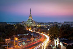 A beautiful temple in Twilight. (Wat Sothon, Chachoengsao, Thailand Royalty Free Stock Photo