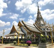 Beautiful temple Wat Sothorn wararam worawihan, Chachoengsao Thailand. Zoom shot near the top of temple Stock Photos