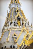 Beautiful temple Wat Sothorn wararam worawihan, Chachoengsao Thailand. Zoom shot near the top of temple Stock Photo