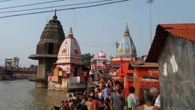 Beautiful  temples in haridwar at hari ki powri stock images