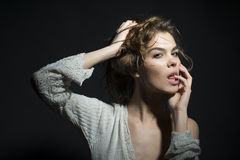Beautiful tempting young woman Royalty Free Stock Images