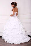 Beautiful tender bride in elegant dress posing at studio Royalty Free Stock Photo