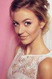 Beautiful tender bride in elegant lace wedding dress Stock Image