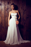 Beautiful tender bride in elegant lace wedding dress Royalty Free Stock Photos