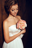 Beautiful tender bride in elegant lace wedding dress Royalty Free Stock Photo