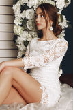 Beautiful tender bride in elegant lace wedding dress Royalty Free Stock Photography