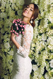 Beautiful tender bride in elegant lace wedding dress Stock Photography