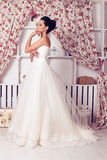 Beautiful tender bride in elegant wedding dress Royalty Free Stock Photography