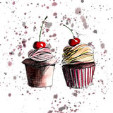 Beautiful tender bright graphic delicious tasty chocolate yummy summer dessert cupcakes with red cherry strawberry on light brown Stock Images