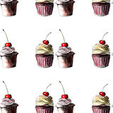 Beautiful tender bright graphic delicious tasty chocolate yummy summer dessert cupcakes with red cherry strawberry pattern Stock Photos